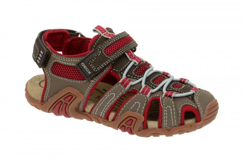 Geox Respira Sand.Kraze Sandalette in grau rot Kindersandalen