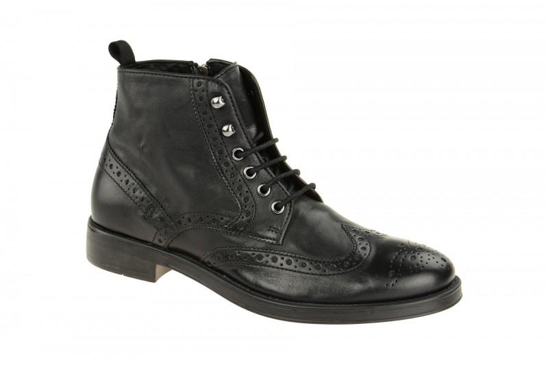 Geox Respira Blade E Herren Boots in schwarz Budapester Stiefelette