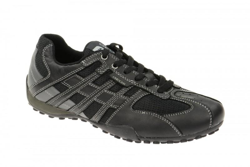 Geox Respira Snake K Herren Sneakers in schwarz Leder Textil mix