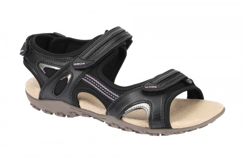 Geox SAND.STREL Riemchen Sandale für Damen in schwarz