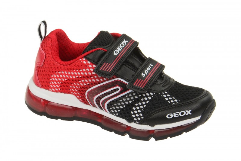 Geox Respira Android Boy Kinderschuhe in schwarz rot Blink LED