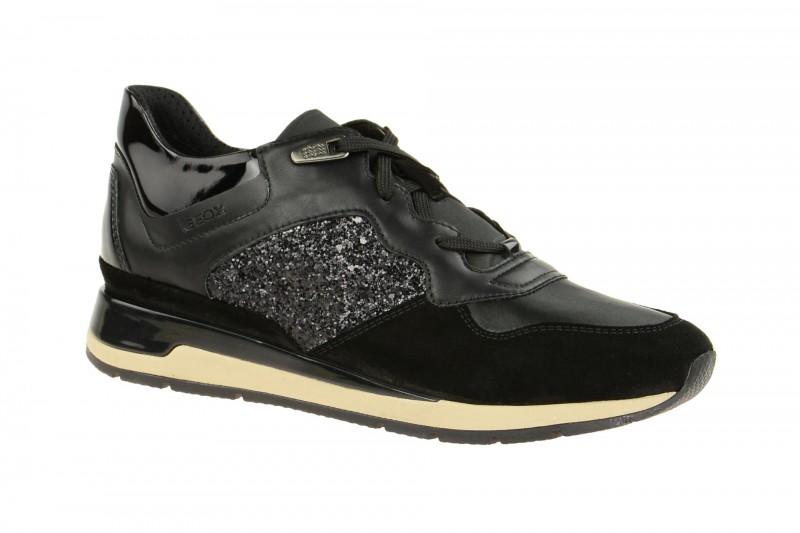 Geox Respira Shahira B Damen Sneakers in schwarz glitter
